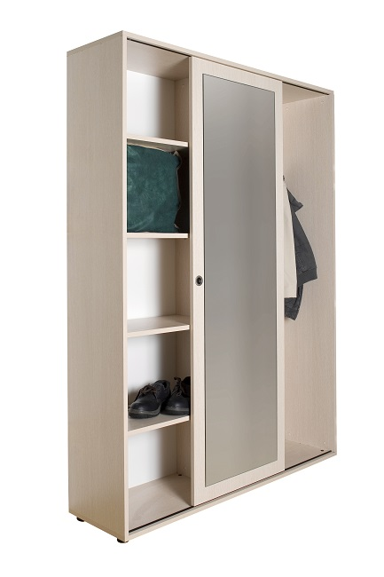 Sliding door wardrobe with shelves and hangers american for 1 door wardrobe with shelves